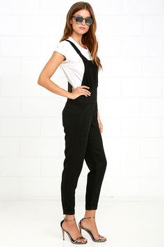 Nothing will be able to get you down when you're rocking the Obey Ridgefield Black Overalls! Incredibly soft and lightweight ribbed fabric sweeps across adjustable straps that form a modified racerback, and support a bib (with pocket) at front. Banded waist has buttons atop relaxed tapered pant legs with cuffed hems. Front diagonal pockets and welted back pockets. Small logo tag at front.