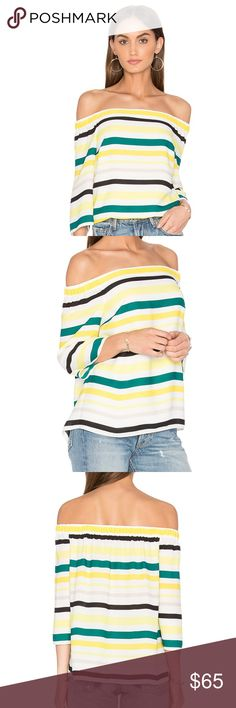 Striped Top💚💛 NWOT Off the shoulder striped top. New without tags, never worn!                       •n o  t r a d e s• •s m o k e  f r e e / p e t  f r e e  h o m e•   •s a m e / n e x t  d a y  s h i p p i n g• 1. State Tops