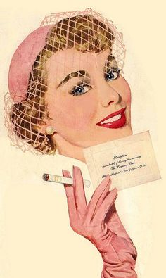 1950s Country Club reception invite. Too bad there's a cigarette on it, but she looks very sophisticated.