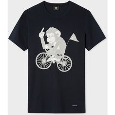Paul Smith Men's Slim-Fit Navy 'Cycling Monkey' Print T-Shirt ($64) ❤ liked on Polyvore featuring men's fashion, men's clothing, men's shirts, men's t-shirts, mens t shirts, mens patterned shirts, mens navy blue shirt, mens crew neck t shirts and j crew mens shirts