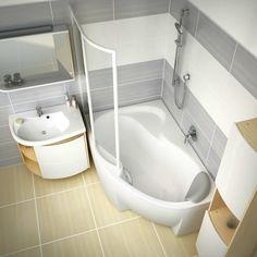 Ravak ROSA - kompleksowa aranżacja Twojej łazienki Small Shower Room, Small Showers, Small Bathroom, Wc Design, House Design, Interior Design, Tub Shower Combo, Shower Tub, Soaking Bathtubs