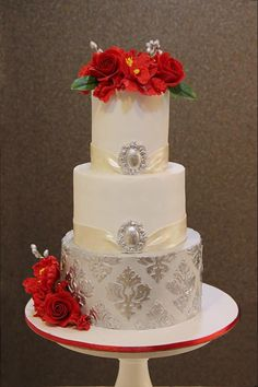 Silver and Red Beauty  by Signature cake by Shweta