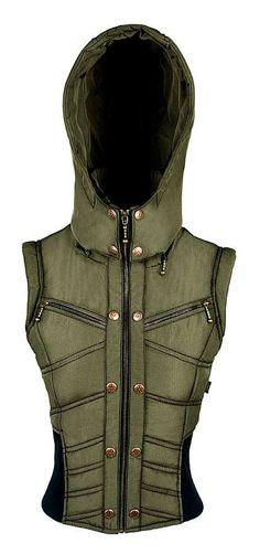 Ayyawear Ripstop Puma Vest in Army Green - Optional Black Fur Hood. - Renaissance Steampunk Ayyawear Verillas
