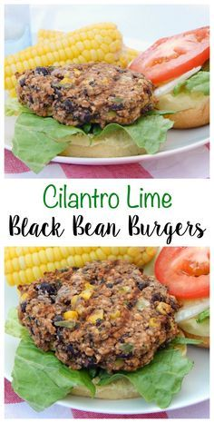 Summer time is here and it's time to fire up the grill. Looking for a burger alternative? Try these Cilantro Lime Black Bean Burgers and add some spice to your BBQ! added more bread crumbs to make patties more formed Veggie Dishes, Veggie Recipes, Whole Food Recipes, Vegetarian Recipes, Cooking Recipes, Healthy Recipes, Healthy Beans, Vegetarian Burgers, Whole Food Diet
