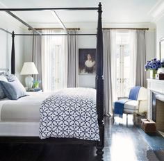 This bed. Traditional Bedroom by David Flint Wood In the master bedroom of Brooke Shields's Manhattan townhouse, an Edwardian oil portrait that was purchased in London accents the wall Traditional Bedroom Decor, Traditional Homes, Traditional Kitchens, Traditional Interior, Farmhouse Master Bedroom, Teen Girl Bedrooms, White Bedrooms, Neutral Bedrooms, Suites