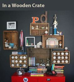 baseball display in a wooden crate
