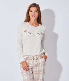 """Pyjama 3 pièces avec veste """"doudou"""" bas en coton - SERAPHIN - ROSE - Etam Lingerie - Octobre 2015 - 55€"""