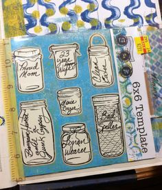 Week 10: Make a list of things about yourself.  My list of 7 things are written on jar stickers, placed on a gelli printed paper, and slipped inside my recycled sleeve.  -- Lucy's Lampshade: DLP Challenge: Weeks 9 and 10