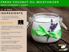 Fresh coconut oil moisturizer recipe via http://coconutoilheaven.com