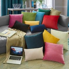 Solid Velvet Decorative Cushion Cover Simple style Throw Pillow Case Pillowcase Home Decor For Sofa Seat Pillows Cover Sofa Seat Cushions, Sofa Seats, Velvet Cushions, Luxury Home Decor, Luxury Homes, Cheap Cushion Covers, Sofa Colors, Throw Pillow Cases, Decorative Cushions