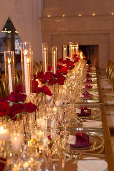 Glam and modern wedding. event and floral design by inviting occasion.  Photos by studioEMP. Burgundy red and gold wedding. Tablescape. Candles. Pelican Hill reception