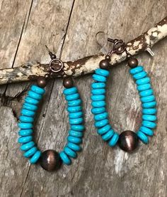 Navajo Pearl Turquoise Copper Earrings