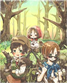 Hetalia as the little red riding hood characters. So Ludwig would be the wolf and Grandpa Rome would be the grandma?