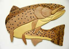 Steelhead Trout Fish Fishing Intarsia Wood Wall Art Home Decor Plaque Lodge New #11Main
