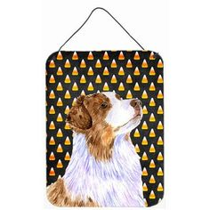 Caroline's Treasures Australian Shepherd Candy Corn Halloween Portrait by Lyn Cook Graphic Art Plaque