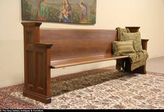 "Walnut 1940 Vintage Pew or 8' 5"" Entry Hall Bench"