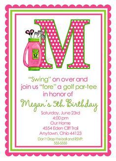 Golf Birthday Invitations, golfing party, golf invitations, Pink Girls,BIrthday, Children