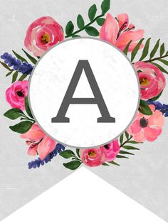 Floral Alphabet Banner Letters Free Printable - Paper Trail throughout Printable Letter Templates For Banners - Best Professional Templates Happy Birthday Banner Printable, Free Printable Banner Letters, Printable Letter Templates, Printable Paper, Floral Banners, Floral Letters, Blog Logo, Floral Printables, Free Printables