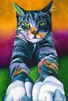 Love the clors this artist used on the pretty cat. Cat