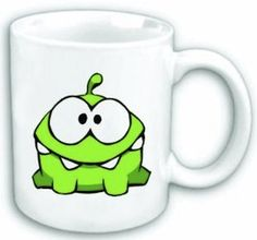 """Cut The Rope Om Nom Mug. I want an om nom tattoo with """"Em nem"""" underneath. It's my (embarrassing) pet name for my little sister, her name is Emily."""