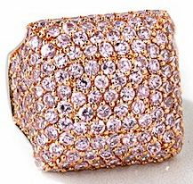 Ziamond Pink and Rose Gold Cubic Zirconia Rosetta Ring. The Rosetta Ring is fully encrusted with pave set round cz and is available in a variety of stone color and metal options. Right Hand Rings, Pearl Gemstone, Square Rings, Cubic Zirconia Rings, Rose Gold Color, Beautiful Rings, Gold Rings, Gemstones, Cocktail Rings