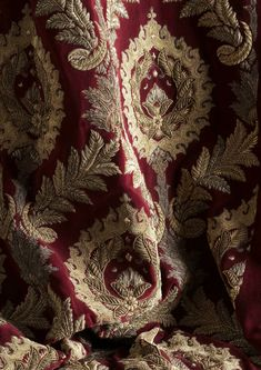 Rossini is a dramatic couture fabric design with a large detailed damask-like pattern, that speaks of sumptuous opulence. Embroidered in high relief in antiqued silver & gold threads, this fabric will add a theatrical elegance to any room. Spiritus, Curtain Patterns, Red Queen, Oui Oui, Red Aesthetic, Dragon Age, Damask, Instagram Posts, Fabric Design