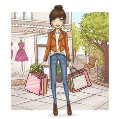 Fashion girl at shopping  photo