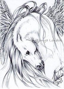 Pretty Pegasus Fantasy Ballpoint Pen Drawing Original ACEO Art by Tanya London  follow my work on Facebook. www.Facebook.com/TanyaLondon.Art