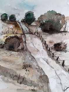 """""""Original Watercolor Painting- Down the Hill"""" original fine art by James Lagasse"""
