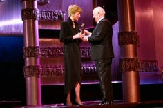 1989-01-29 Diana presents Sir Alec Guinness with the Laurence Olivier Theatre Special Award for his outstanding contributions to West End Theatre