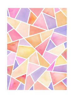 """""""Fragments: Pink"""" - Painting Art Print by sue prue. Poster Color Painting, Tape Painting, Pink Painting, Watercolor Pattern, Abstract Watercolor, Watercolor Paintings, Watercolours, 8th Grade Art, Kids Art Class"""