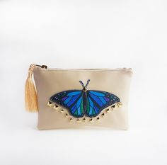 This item is unavailable Butterfly Makeup, Blue Butterfly, Deer Makeup, Makeup Pouch, Leather Pouch, Clutches, My Etsy Shop, Zipper, Metal