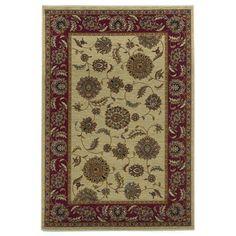 """KAS Oriental Rugs Lifestyles Ivory/Red Kashan Rug  3'11"""" x 5'3"""""""