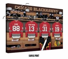 Chicago Blackhawks Personalized Locker Room Print. Every hockey fan dreams of seeing their name on the back of a jersey and earning a place in the locker room aside their heroes. Thanks to our Personalized Locker Room Prints, here's a chance to do both and have the wall art to prove it.