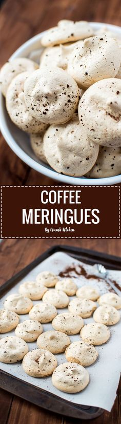 Need that caffeine fix? Get it with these Coffee Meringues, a coffee-infused version of traditional airy and crisp meringues. | http://crumbkitchen.com