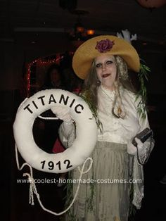 """With this Titanic Ghost Halloween costume, I felt like a celebrity. I attended a Halloween party at the local fire department and won """"Best Costume"""". Ghost Halloween Costume, Creepy Costumes, Halloween Party, Halloween Ideas, Titanic Costume, Homemade Costumes, Trick Or Treat, Holiday Crafts, Cool Stuff"""