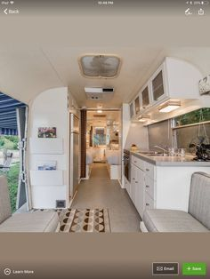 Replace upper cabinets with something like this Airstream Campers, Airstream Remodel, Airstream Renovation, Airstream Interior, Campervan Interior, Trailer Remodel, Remodeled Campers, Vintage Rv, Vintage Airstream