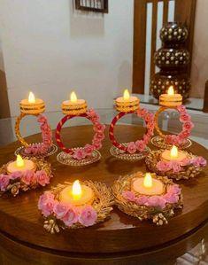Diwali Decoration Lights, Thali Decoration Ideas, Diwali Decorations At Home, Diy Party Decorations, Festival Decorations, Flower Decorations, Diwali Craft, Diwali Gifts, Diwali Diya