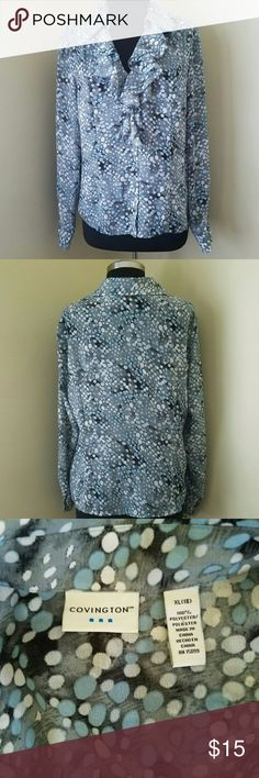 """Long-Sleeve, Teal V-Neck Ruffle Shirt, XL Light and airy white, teal and gray spot pattern, long-sleeve, button-down blouse with a ruffle v-neck,   100% polyester.   19"""" sleeve, 16"""" arm circumference, 24"""" length,   Size XL by Covington Covington Tops Blouses"""