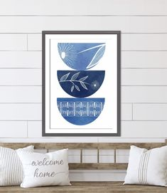 Blue Mid Century Modern Print Living Room Decor | Etsy