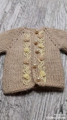 Doll clothes - Doll clothes Outfit Paola Reina clothes for dolls Baby Cardigan Knitting Pattern, Knitted Baby Cardigan, Baby Pullover, Baby Knitting Patterns, Baby Patterns, Free Knitting, Crochet Patterns, Knitting Stitches, Free Sewing