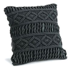 Redefine contemporary style with the Donovan Black Macrame Pillow from Regina Andrew. With an artist's eye, their assortment skillfully mixes modern with rustic, elegant with casual, romantic with relaxed. They have an eclectic vision that resonates with Macrame Mirror, Macrame Art, Macrame Design, Macrame Projects, Macrame Wall Hanging Patterns, Macrame Patterns, Crochet Pillow Patterns Free, Macrame Chairs, Diy Pillow Covers