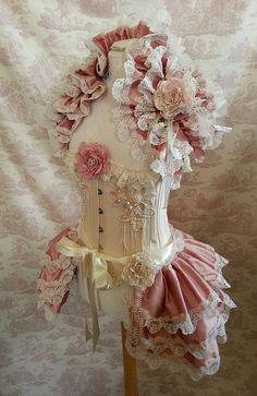 FREE FLOWERS  Silk Tie On Bustle Skirt  and shrug SET Lolita Victorian   By Ophelias Folly