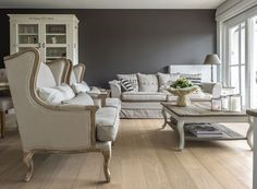 Grey painted wall and French styling...