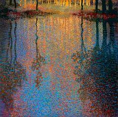 Ton Dubbeldam – Summer's Pond – oil with dry pastel