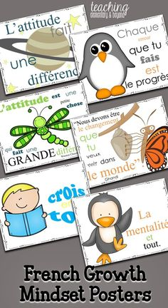Provide inspiration for for your kids! These growth mindset posters are full of quotes to help motivate and change the perspective of your students! These will look great on your bulletin boards in your classro French Bulletin Boards, Back To School Bulletin Boards, French Classroom Decor, Classroom Design, Teacher Organization, Teacher Hacks, Teacher Stuff, Growth Mindset Posters, French Kids
