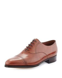 JOHN LOBB PHILIP II CAP-TOE LEATHER OXFORD, DARK BROWN. #johnlobb #shoes #