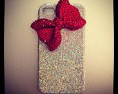 Glitter iPhone case with red crystal bow