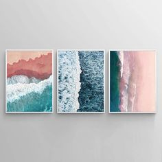 Sea Framed Wall Art (Set of Beach Theme, Ocean waves – Choose Size and Frame Color Frames On Wall, Framed Wall Art, Nautical Pictures, Beach Posters, Wall Art Sets, Texture Art, Beach Photography, Beach Themes, Painting Frames