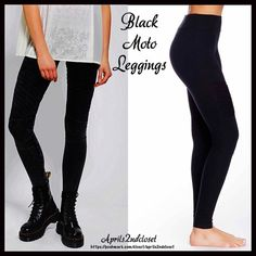 ❗️1-HOUR SALE❗️LEGGINGS BLACK MOTO LEGGINGS 💟 NEW WITH TAGS 💟 BLACK Pintuck Seamed MOTO LEGGINGS Tagged size S * Incredible quality & well made. * Allover knit construction w/pin tucked calves & knee details for a moto look.  * Super comfortable. Designed for better department stores.  * Flat wide elasticized waist for the perfect fit.  * Stretch-To-Fit Style; Size M approx fits sizes 6-8, slim fit, order next size up if between sizes * Fabric: Cotton, polyester & Spandex; Color: Black…